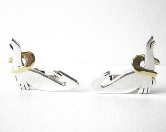 Vintage Sterling Silver Performing Seal Cufflinks With Gold Metal Accent