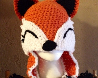 Crocheted Fox Hat What Did the Fox Say Hats for Kids Hats for Teens Hats for Adults Foxy Hat Cute Fox Hat Fox Themed Items Handmade Fox