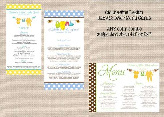 baby shower menu cards printable girl boy or by primroseandpark