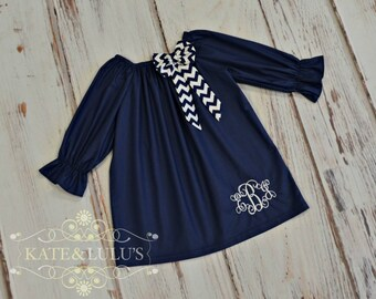 Girls Fall Dress - Peasant Dress - Navy Fall Dress - Monogrammed Dress - Wedding - Birthday