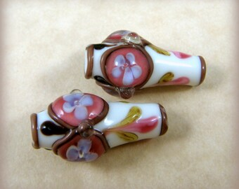 Lampwork Vase Bead - Ivory Vase/Pink - Glass Lamp Work Beads - 24x15mm - Sold Individually