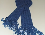 Women's/Teen's Keyhole Scarf-Neck Warmer-Royal Blue with Fringe
