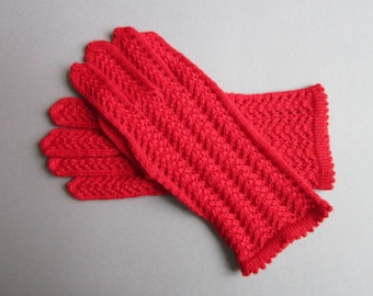 Red Gloves for Women Hand Knit Gloves Wool Gloves Red Lace Gloves for Her Gloves Fingerless Winter Gloves Gloves Women Fingerless Gloves
