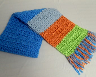 Handmade Crochet Scarf, Multicolor Scarf, Bright Colors Neck Scarf