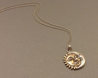 Two-Tone Sun & Moon Necklace in Sterling Silver, Friendship Necklace, Sun and Moon Jewelry