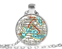 Lucerne Switzerland, Lake Luzern map necklace pendant charm, map jewelry, custom photo pendant, available as a personalized keychain, A212