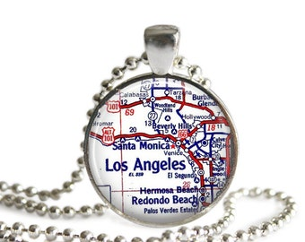 Los Angeles, California vintage map pendant charm, map necklaces, map jewelry pendants, mother gift, mom gift, friend gift, A117