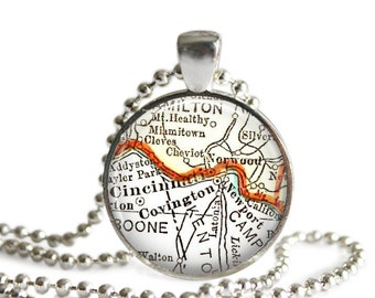 Cincinnati, Ohio map necklace pendant charm, Ohio map jewelry, Cincinnati necklace charms, Mothers Gifts, Mom Gift, Grandma Gift, A271