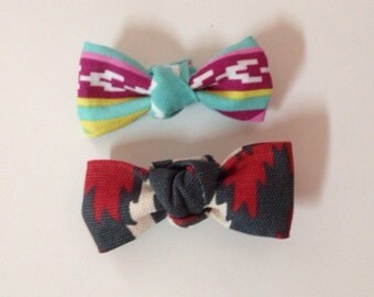 """Set of two mini me """"chicita"""" bows in aztec prints for infant- adult"""