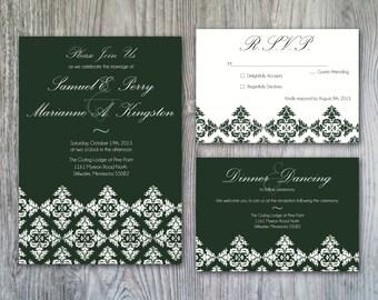 Elegant Hunter Green Damask Inspired Wedding Invitation Set - Print it Yourself or Printed for You