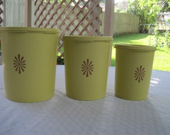 Set Of Three Harvest Yellow Tupperware Canisters 1970
