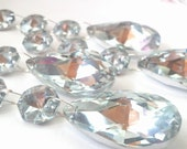 4 Silver Teardrop Chandelier Wedding Crystals Triple Bead Ornaments Prisms Mirrored
