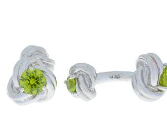 2.5 Ct Peridot Knot Cufflinks .925 Sterling Silver Rhodium Finish