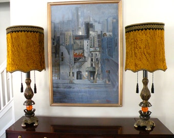 Pair of EF & EF Gaudy Metal Table Lamps with Original Shag Velour Shades