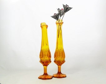 Pair of Mid-Century Yellow Swung Bud Vases