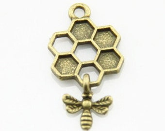6 pcs of bee with honeycomb charm-1270-antique bronze