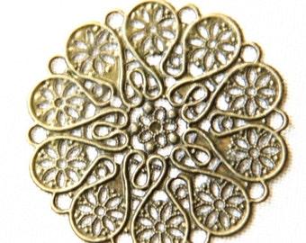 12 pcs of iron filigree charm 50mm-1627-antique bronze