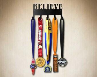 Believe( original 5 Hook SportHook,Running Medal holder, Medal Hanger, Medal Holder, Medal Rack, Medal Display, Display Medals.