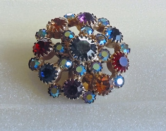 Vintage Earrings (clip-on) - Round with Multi-Colored Crystals