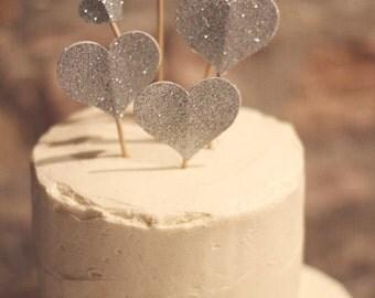 Wedding Glitter Heart Cake Topper Gold or Silver Customizable Set of 6