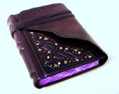 Leather Handbound Journal, Notebook, Relief, Deep Purple Leather, Painted Edges, Gilding