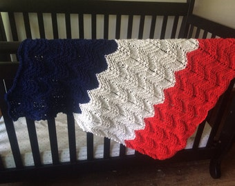 Knit Baby Blanket, Red White and Blue