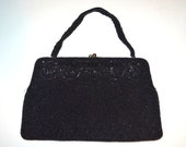 1950s Beaded Black Small Purse - Special Occasion Evening Bag - Circle Embellished Sparkle Purse - Mad Men - Gala - Ball - Prom Clutch