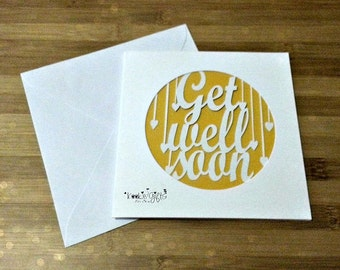 Get well soon paper cut card