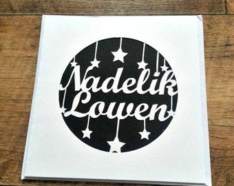Nadelik Lowen Cornish Cornwall paper cut card