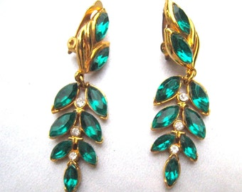 Emerald Green Leaf Motif Drop Earrings Green Navettes Crystal Rhinestones Goldtone Vintage Bride Mid Century Bridal Jewelry 1950's Earrings