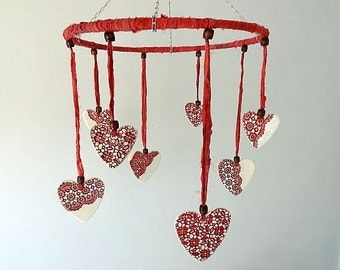 SALE!! Half price clearance. Baby / Children's mobile. Handmade porcelain ceramic hearts and sari silk ribbon. Red.