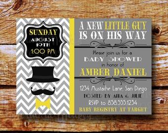 Baby Shower Mustache Invitation, Mustache Bash, Bowtie Baby Shower Invitation, Yellow Gray Invitation, Little Man Invitation - Daniel