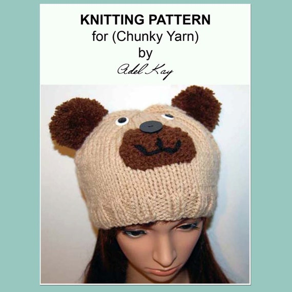 Knitting Pattern PDF Document Logan Teddy Bear Animal Beanie