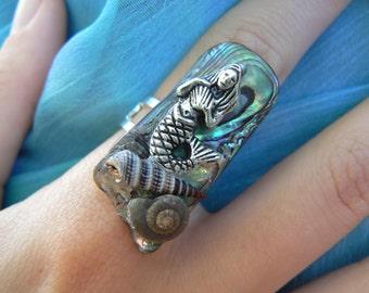 mermaid abalone ring mermaid jewelry statement ring siren shells nautical boho gypsy cruise beach resort wear  high fashion gypsy hipster