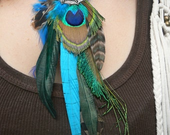 necklace peacock pheasant feather dreamcatcher  turquoise amethyst in tribal inspired tribal fusion boho belly dancer and hipster style