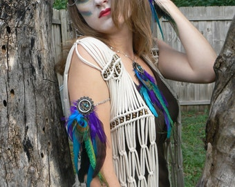 coachella arm chain peacock purple feather dreamcatcher jewelry armlet in tribal  inspired tribal boho belly dancer and hipster