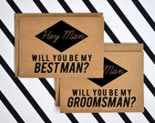 FREE SHIPPING - 5 Cards Will You Be My Groomsmen and Best Man Cards Box Set - Wedding Stationery Cards - Groomsmen cards - bridal party Card