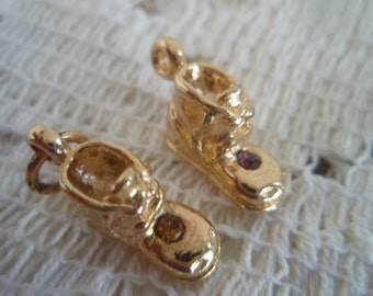 Baby Booties Charms with gemstones, Gold tone metal booties, one with citrine color the other with amethyst. color
