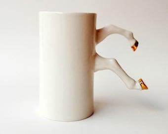 White Ceramic Mug with Gold Hooves, Porcelain, Modern Ceramic Design by Barceramics, Ceramics and Pottery, Ceramic Gift Idea