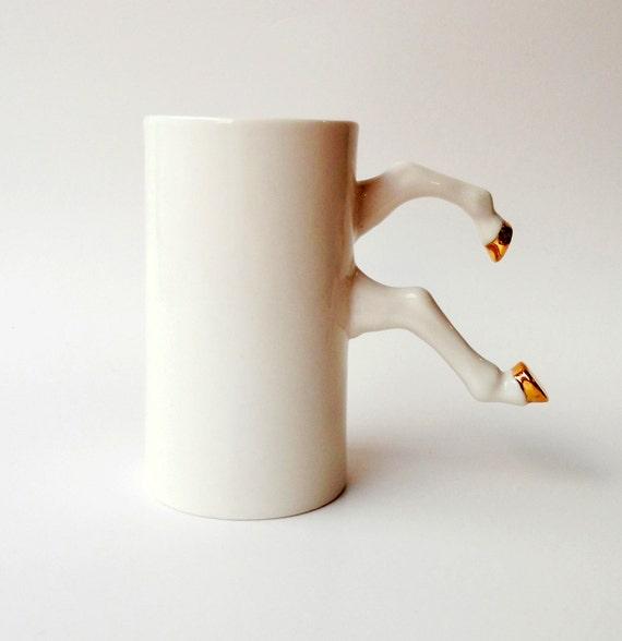 White Ceramic Mug With Gold Hooves Porcelain Modern Ceramic