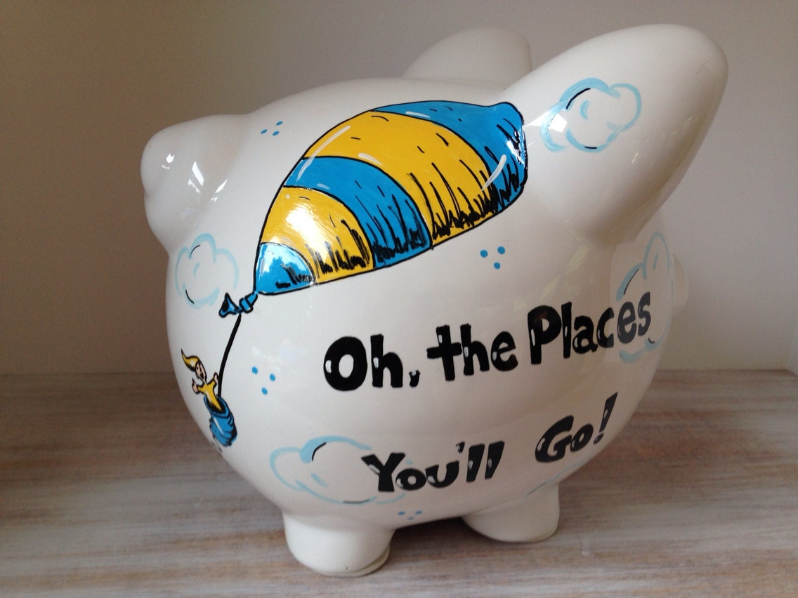 Personalized hand painted piggy bank with dr seuss theme for How to paint a ceramic piggy bank