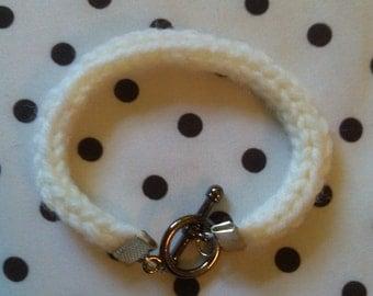 Hand Knit White I-Cord Bracelet