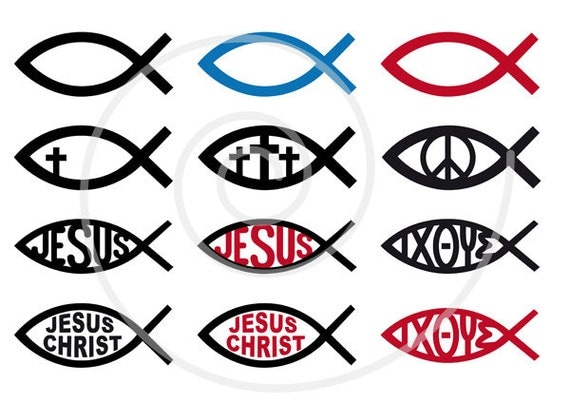 Jesus Christ digital clip art christian clipart fish sign