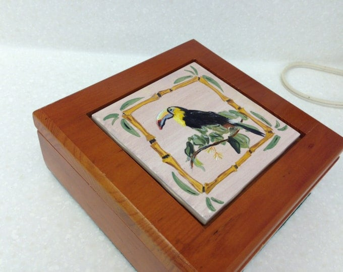 Toucan Tiled Wooden Box, Felt Lined and on Bottom