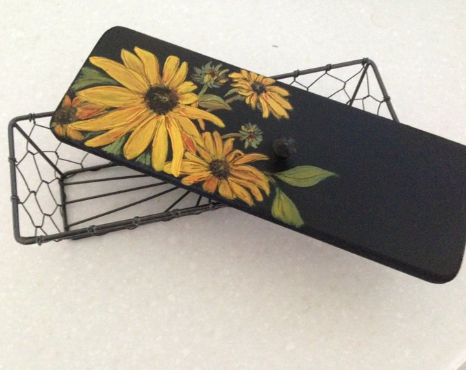 Sunflowers on a Wired Basket - Black Wired Basket with Black Knob on Top