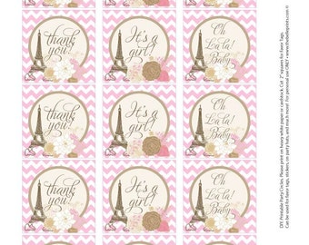 Favor Tags -  Baby Shower Paris Theme - Pink with brown  - DIY Printable - Self Download