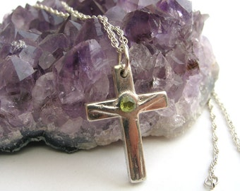 Silver Birthstone Cross Necklace, Religious Jewelry, Crucifix Necklace, Confirmation Gift, Sterling Silver jewelry