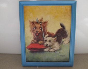 Framed Dog Puppy Print By Florence Kroger