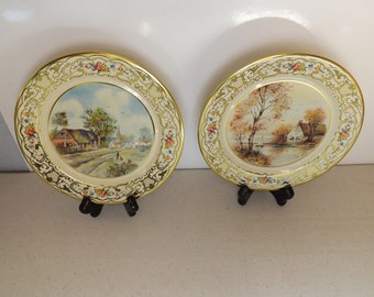 Two Metal Plates Daher Decorated Ware Holland