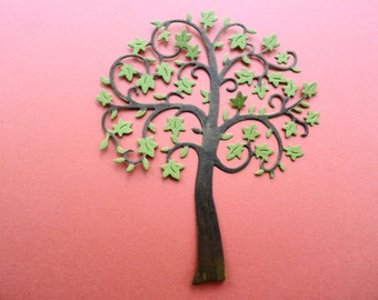 Fall Green Leaf Tree Die Cuts Set of 6